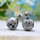 Hot Fashion Retro Candy Color White Graffiti Print Double Side Pearl Stud Earrings