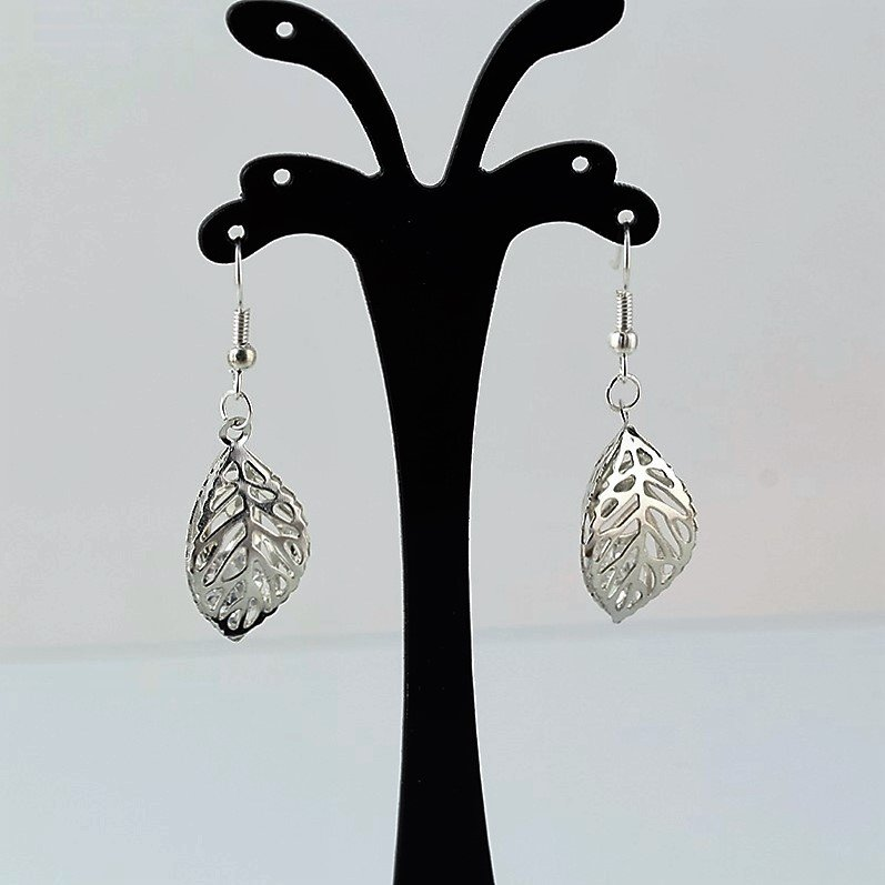 Fashion Chic Boho Shinning Silver Plating Multi-layer Crystal Double Leaf Drop Earrings