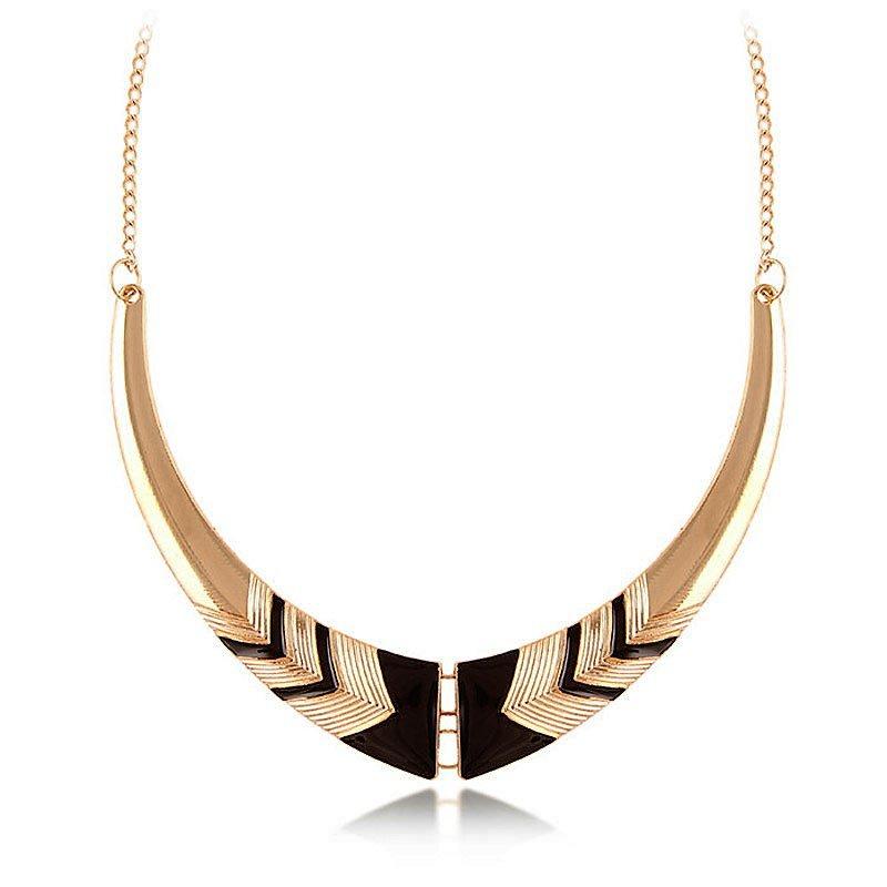 Elegant Classic Greek Goddess Gold Plated Black Crescent Moon Pendant Collar Necklace