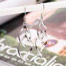 Elegant Shiny Silver Plated Waterdrop Twisted Double Loop Bicyclic Wave Earrings