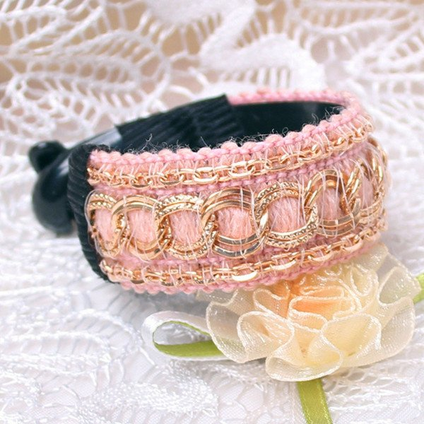 Fashion Retro Pink Chain Tail Clamp Claw Comb Jaw Ponytail Hair Clip Barrette Holder