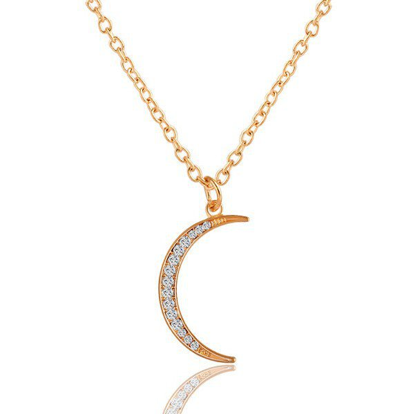 Moonglow Cubic Zircon Crystal Rhinestone Crescent Sailor Moon Gold Chain Pendant Necklace