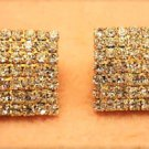 Designers Inspired Gorgeous Luxury Gold Plated Square Crystal Rhinestone Stud Earrings