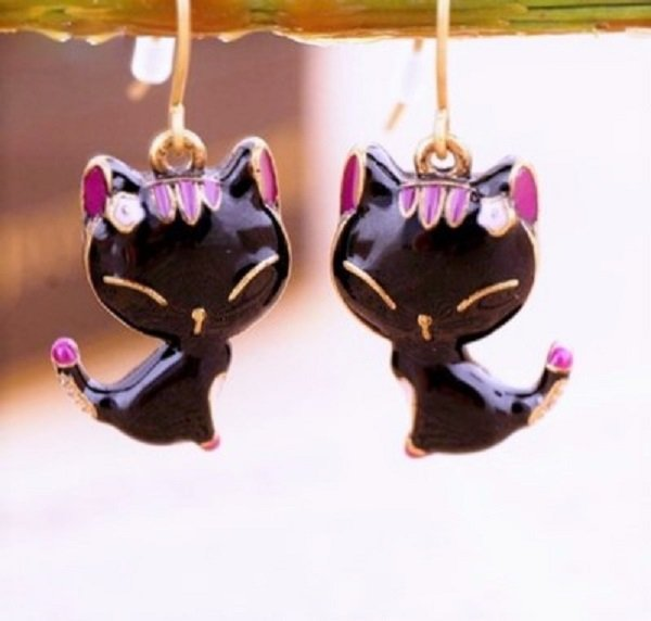Elegant Black Glaze Small kitty Cat Stud Dangle Drop Earrings