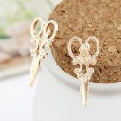 Funky Cool Rock Punk Hip Hop Gold Plated Victorian Style Small Scissors Stud Earrings