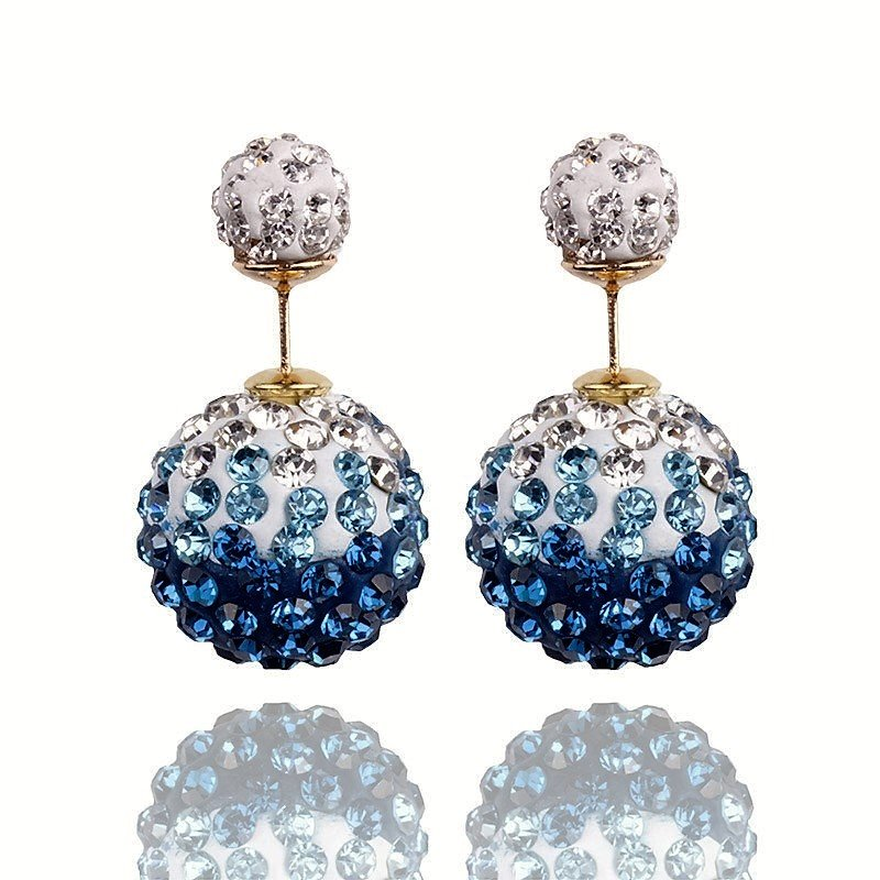 Elegant Stainless Steel Teal Rhinestone Disco Ball Shamballa Double Side Pearl Stud Earrings