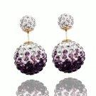 Elegant Stainless Steel Purple Rhinestone Disco Ball Shamballa Double Side Pearl Stud Earrings
