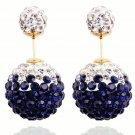 Elegant Stainless Steel Dark Blue Rhinestone Disco Ball Shamballa Double Side Pearl Stud Earrings