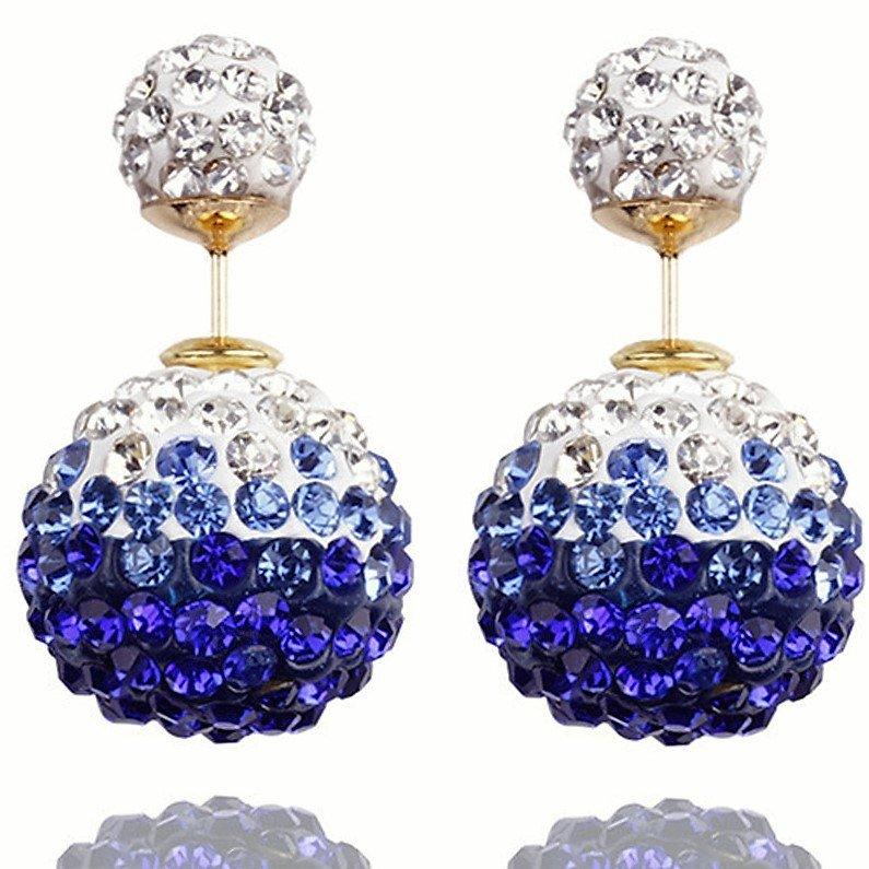 Elegant Stainless Steel Royal Blue Rhinestone Disco Ball Shamballa Double Side Pearl Stud Earrings