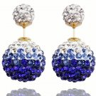 Elegant Stainless Steel Royal Blue Rhinestone Disco Ball Shamballa Double Side Pearl Stud Earrings