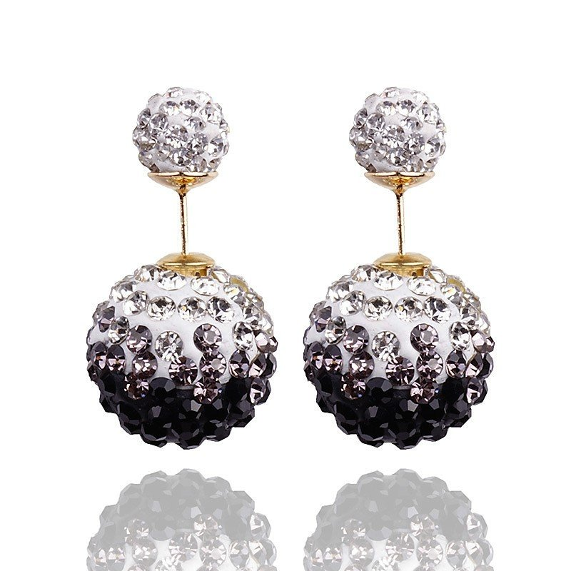 Elegant Stainless Steel Black Rhinestone Disco Ball Shamballa Double Side Pearl Stud Earrings