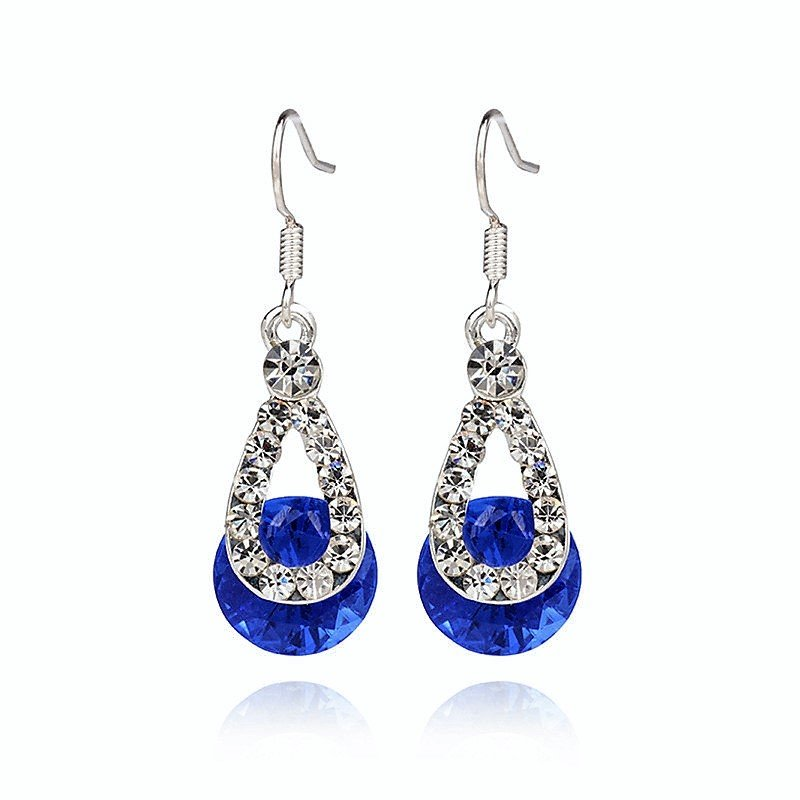 Classic Blue Austria Crystal Rhinestone Silver Plated Zircon Stone Water Drop Diamond Earrings