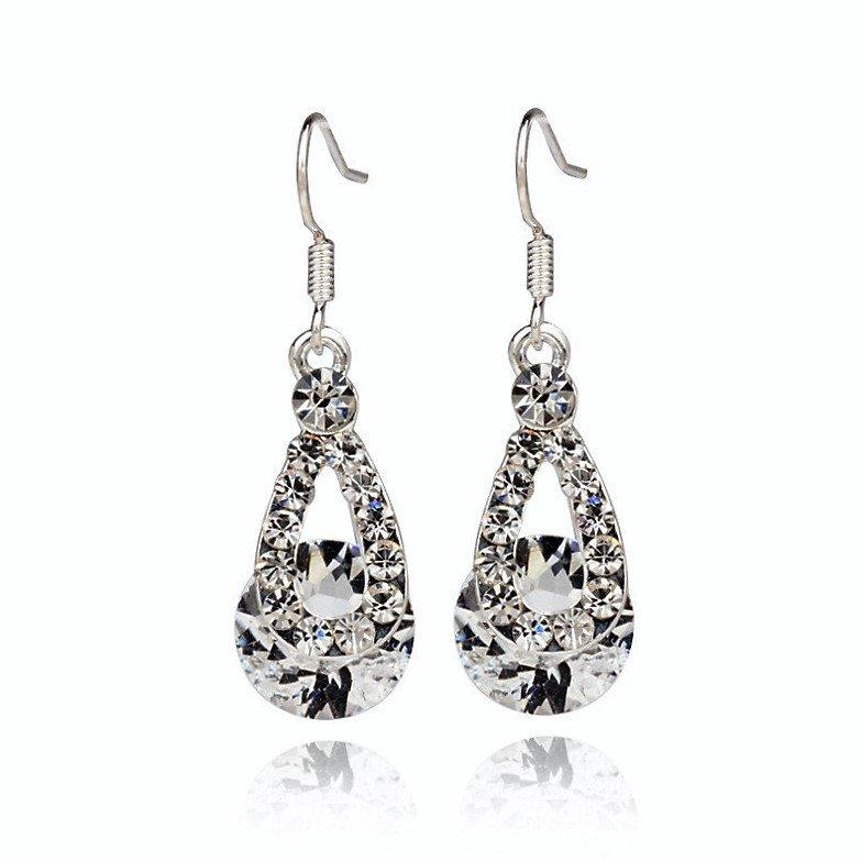 Classic White Austria Crystal Rhinestone Silver Plated Zircon Stone Water Drop Diamond Earrings