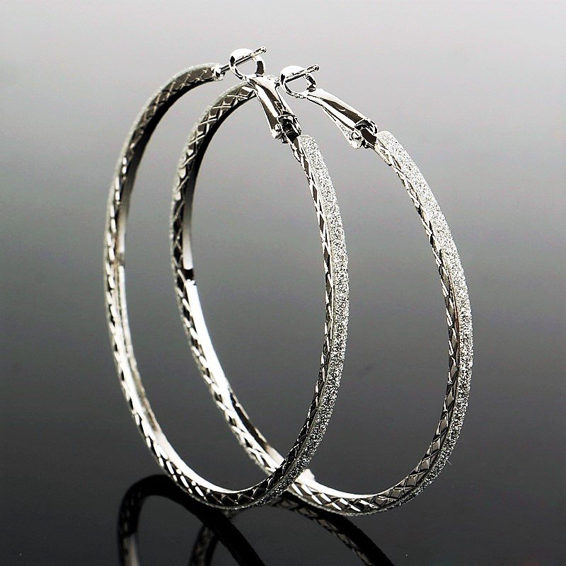 Luxury Silver Plated Dazzling Sparkling Crystal Rhinestone Large Round Hoop Mesh Dangle Earrings