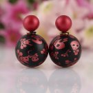 Fashion Chic Punk Retro Red Black Skull Printing Candy Color Double Side Pearl Stud Earrings