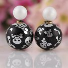 Fashion Chic Punk Retro White Black Skull Printing Candy Color Double Side Pearl Stud Earrings
