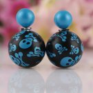 Fashion Chic Punk Retro Blue Black Skull Printing Candy Color Double Side Pearl Stud Earrings