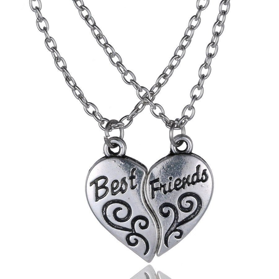 Charming Fashion Silver Plated Engraved Friendship Split Half Heart Best Friend Pendant Necklace