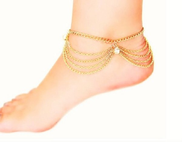 Charming Multi-Layer Crystal Gold Plated Tassel Anklet Foot Chain Barefoot Beach Sandal Bracelet