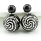 Chic Fashion Retro Spiral Rhinestone Black Double Side Pearl Front Back Stud Earrings