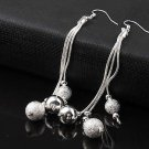 Simply Elegant Classic 925 Sterling Silver Plated Mesh Bead Long Dangle Earrings