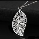 Simply Elegant Classic 925 Sterling Silver Plated Leaf Chain Pendant Necklace