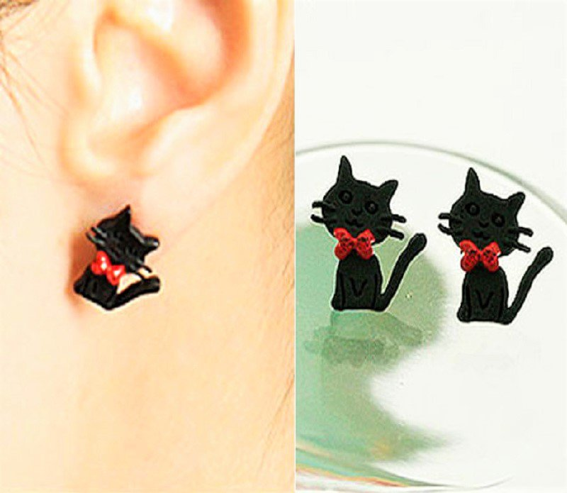 Super Cute Betsey Johnson Black Cartoon Kitty Cat Red Bowknot Stud Earrings