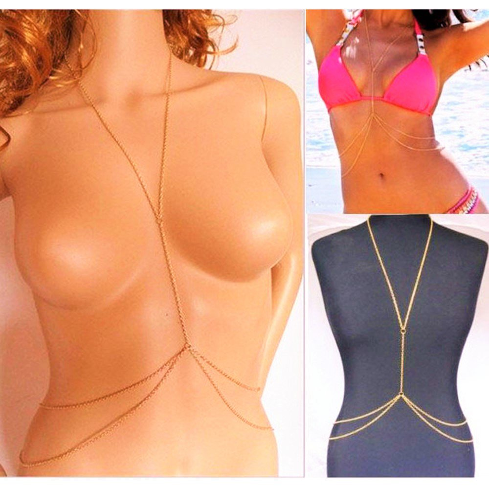 Sexy Boho Crossover Gold Plated Double Body Belly Waist Chain Bikini Beach Harness Necklace