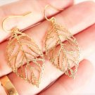 Chic Bohemian Filigree Gold Plated Small Flower Leaf Dangle Hook Earrings