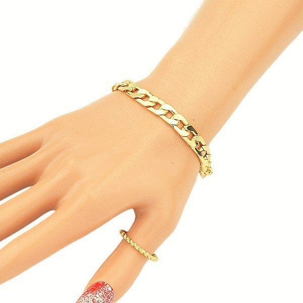 Simply Elegant Thick Gold Plated Curb Cuban Chain Link Bangle Bracelet