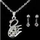 Once Upon A Time Sterling Silver Swarovski Element Crystal Swan Lovers Pendant Necklace Earrings Set