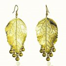 Big Long Fashion Chic Gold Plated Maple Leaf Chandelier Dangle Drop Earrings