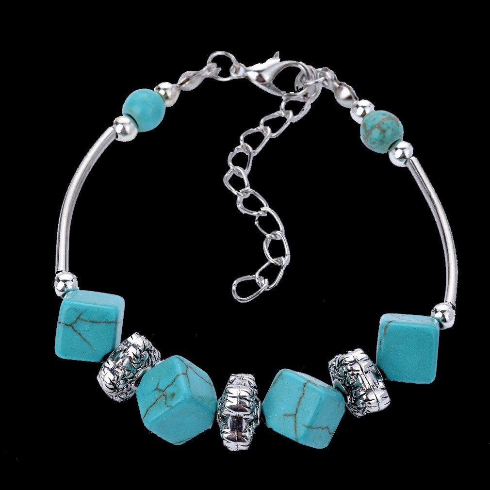 Aztec Ethnic Tribal Tibetan Silver Turquoise Square Cube Beads Stone Charm Bracelet
