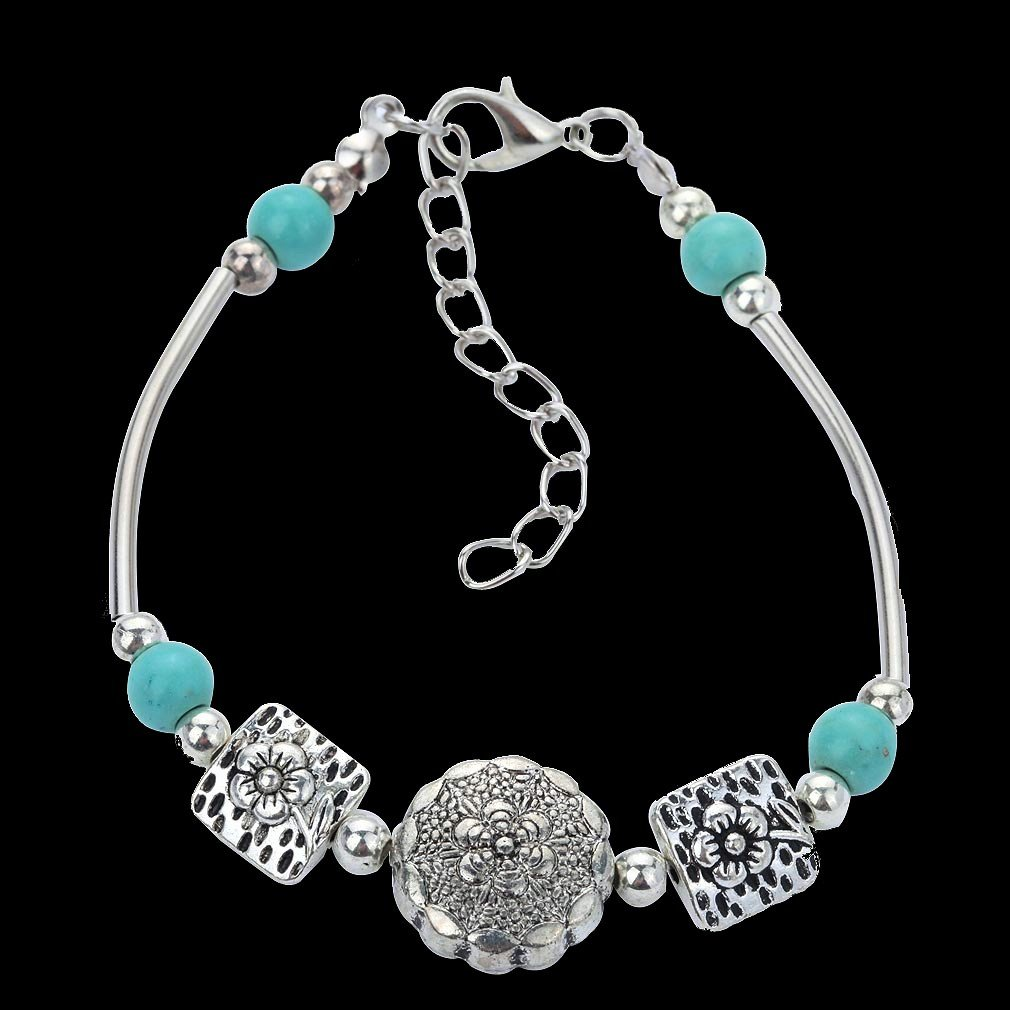 Aztec Ethnic Tribal Tibetan Silver Flower Square Stone Turquoise Ball Beads Charm Bracelet