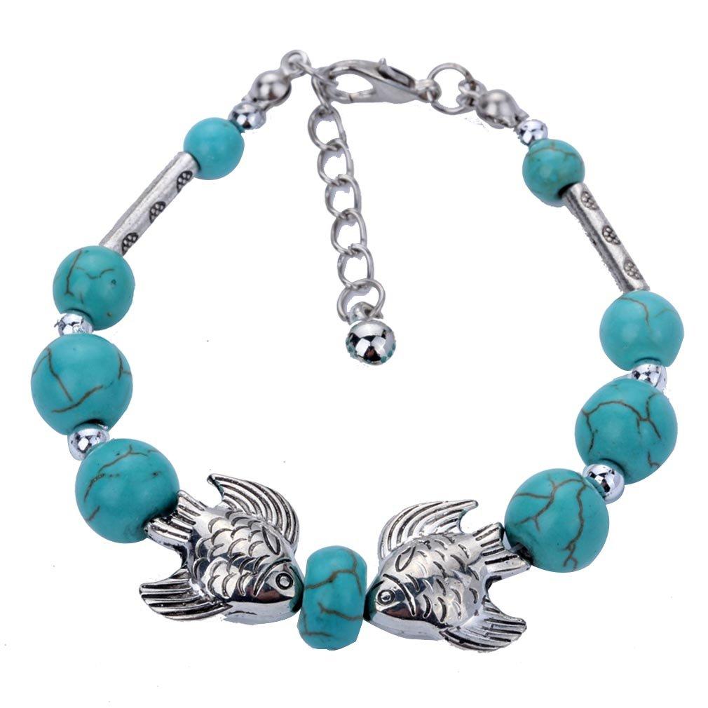Aztec Ethnic Tribal Tibetan Silver Stone Archerfishes Turquoise Oval Beads Charm Bracelet