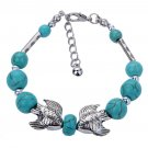 Aztec Ethnic Tribal Tibetan Silver Stone Archerfishes Turquoise Oval Beads Charm Bracelet