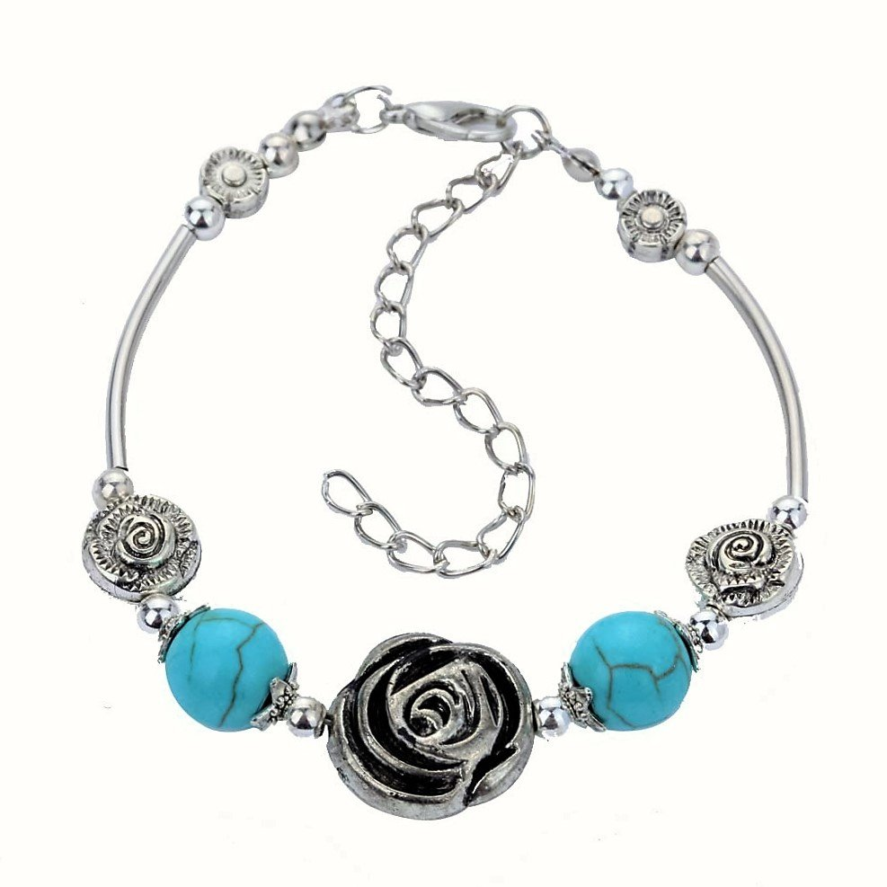 Aztec Ethnic Tribal Tibetan Silver Flower Turquoise Beads Rose Stone Floral Charm Bracelet