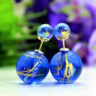 Fashion Retro Blue Transparent Pearl Rainbow Color Double Side Front Back Stud Earrings