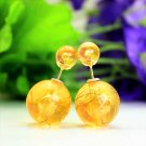 Fashion Retro Yellow Orange Transparent Pearl Rainbow Color Double Side Front Back Stud Earrings