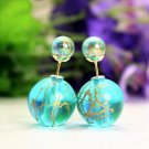 Fashion Retro Lake Blue Transparent Pearl Rainbow Color Double Side Front Back Stud Earrings