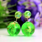Fashion Retro Green Transparent Pearl Rainbow Color Double Side Front Back Stud Earrings