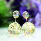 Fashion Retro Clear White Transparent Pearl Rainbow Color Double Side Front Back Stud Earrings