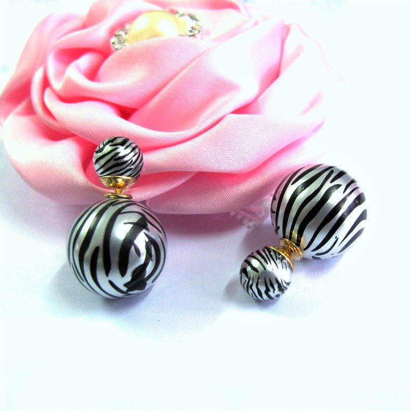 Chic Fashion Ethnic Tribal Zebra Stripe Printed Double Opal Ball Pearl Front Back Stud Earrings