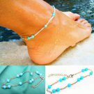 Boho Ethnic Tribal Turquoise Seed Beads Sterling Silver Plated Chain Anklet Ankle Foot Bracelet
