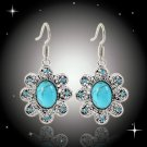 Bohemian Ethnic Tribal Tibetan Silver Rhinestone Turquoise Oval Turtle Flower Pendant Drop Earrings
