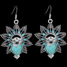 Bohemian Ethnic Tribal Tibetan Silver Rhinestone Turquoise Heart Owl Pendant Drop Earrings