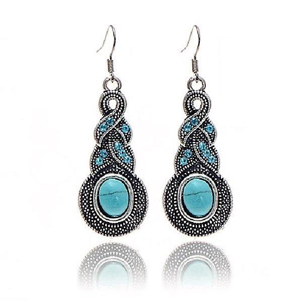 Bohemian Ethnic Tribal Tibetan Silver Rhinestone Turquoise Warp Teardrop Pendant Drop Earrings