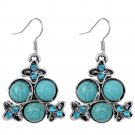 Bohemian Ethnic Tribal Tibetan Silver Rhinestone Turquoise Crab Flowers Pendant Drop Earrings