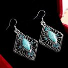 Bohemian Ethnic Tribal Tibetan Silver Rhinestone Turquoise Rhombic Pave Pendant Drop Earrings