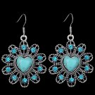 Bohemian Ethnic Tribal Tibetan Silver Rhinestone Round Turquoise Flower Heart Pendant Drop Earrings